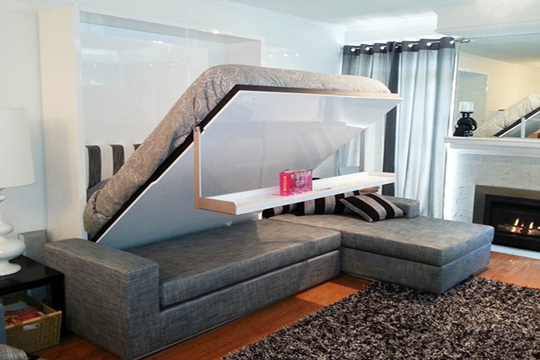 Sofá, cama y pared con repisa, eso es MurphySofa Float.